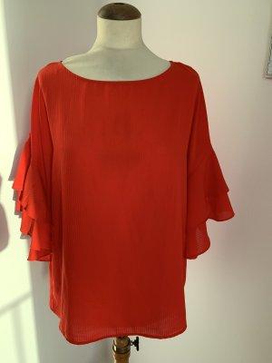 H&M rote Bluse mit Volant Ärmel