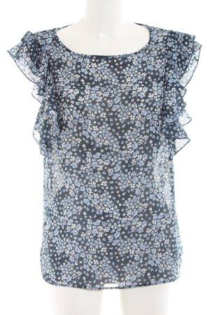H&M Bluzka z falbankami niebieski-w kolorze białej wełny Na całej powierzchni