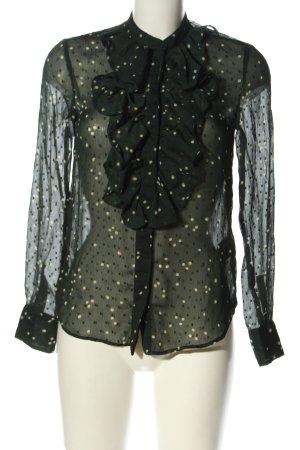 H&M Bluzka z falbankami czarny-biały Wzór w kropki W stylu casual
