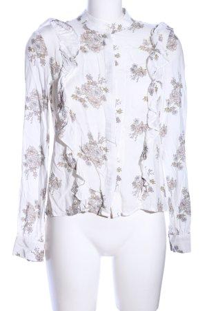H&M Rüschen-Bluse weiß-braun Allover-Druck Casual-Look