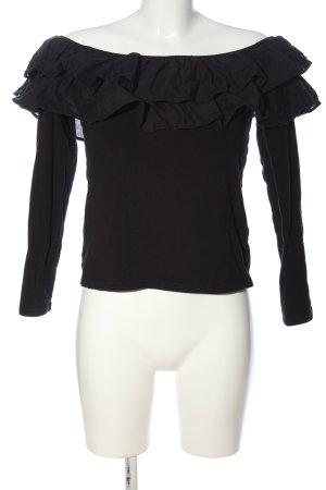 H&M Rüschen-Bluse schwarz Casual-Look