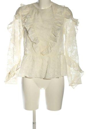 H&M Bluzka z falbankami w kolorze białej wełny Siateczkowy wzór