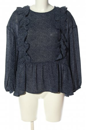 H&M Ruffled Blouse blue-white spot pattern casual look