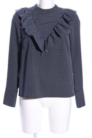 H&M Rüschen-Bluse blau-weiß Punktemuster Business-Look