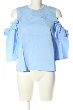 H&M Ruffled Blouse blue striped pattern business style