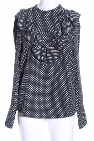 H&M Blouse à volants noir-blanc motif de tache style d'affaires