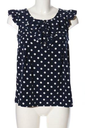 H&M Rüschen-Bluse blau-weiß Allover-Druck Business-Look