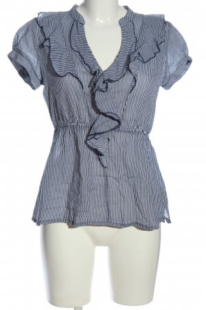 H&M Ruffled Blouse blue-white business style