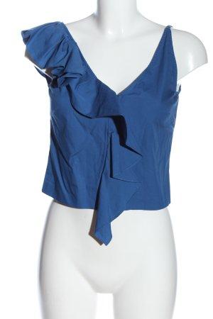 H&M Rüschen-Bluse blau Casual-Look
