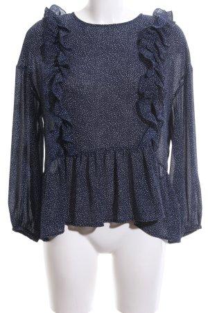 H&M Rüschen-Bluse blau-weiß Allover-Druck Casual-Look