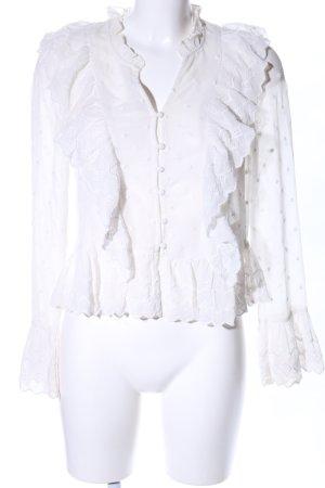 H&M Blouse à volants blanc motif de fleur style décontracté