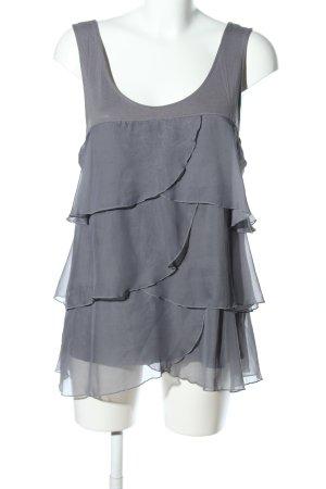 H&M Rüschen-Bluse hellgrau Elegant