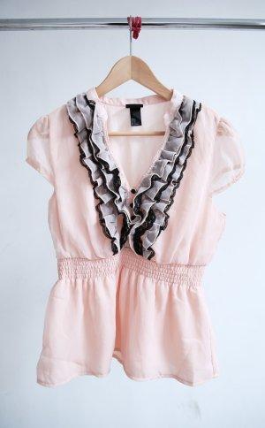 H&M Rüschen- Bluse rosa/black