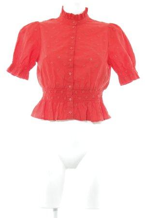 H&M Rüschen-Bluse rot Stickereiverzierung