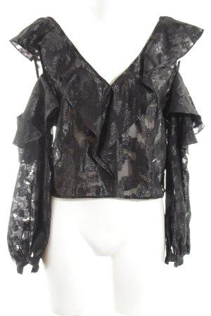 H&M Rüschen-Bluse schwarz Allover-Druck extravaganter Stil