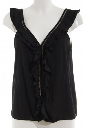 H&M Ruche blouse zwart Polyester