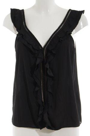 H&M Blouse à volants noir polyester