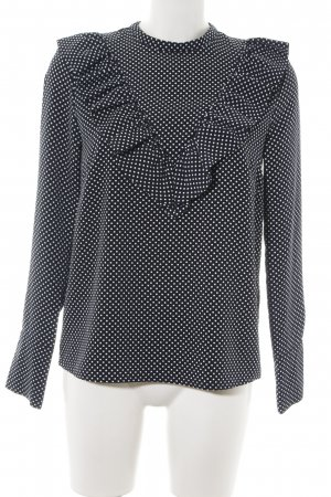 H&M Ruche blouse zwart-wit gestippeld patroon casual uitstraling