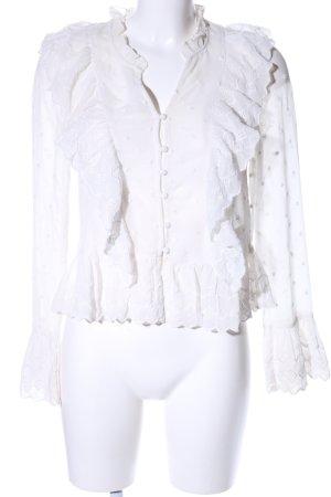 H&M Blouse à volants blanc motif de fleur style d'affaires
