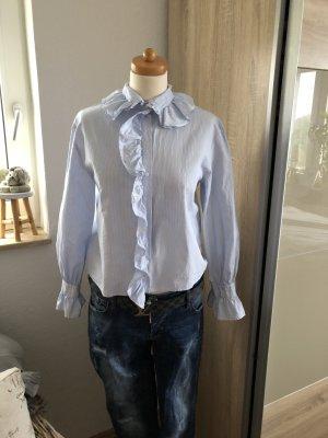 H&M Blusa con volantes blanco-azul celeste