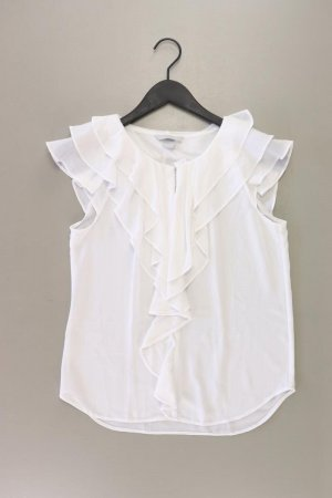 H&M Rüschenbluse Größe 36 Kurzarm weiß aus Polyester