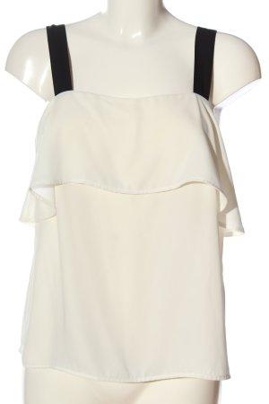 H&M Top z falbankami biały-czarny W stylu casual