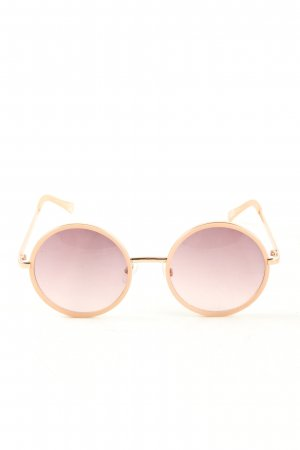 H&M Gafas de sol redondas color oro-nude look casual
