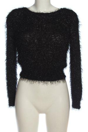 H&M Rundhalspullover schwarz-silberfarben Casual-Look
