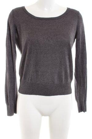 H&M Kraagloze sweater lichtgrijs gestippeld casual uitstraling