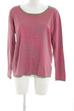 H&M Rundhalspullover pink-braun Streifenmuster Casual-Look
