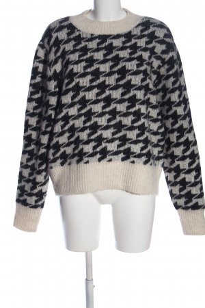 H&M Rundhalspullover wollweiß-schwarz Allover-Druck Casual-Look