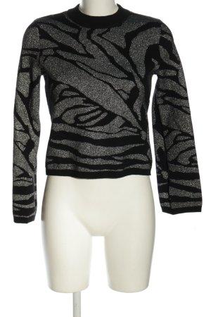 H&M Rundhalspullover schwarz-silberfarben abstraktes Muster Glanz-Optik