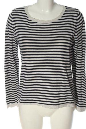 H&M Rundhalspullover blau-weiß Streifenmuster Casual-Look