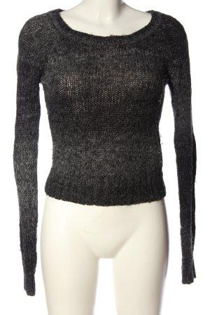 H&M Rundhalspullover hellgrau-schwarz Farbverlauf Casual-Look