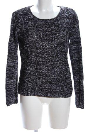 H&M Rundhalspullover weiß-schwarz Allover-Druck Casual-Look