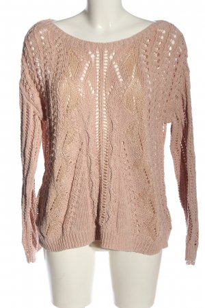 H&M Rundhalspullover pink Zopfmuster Casual-Look