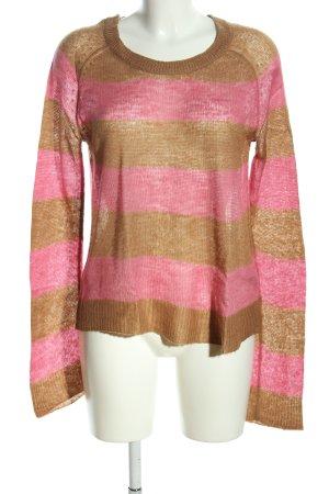 H&M Rundhalspullover braun-pink Allover-Druck Casual-Look