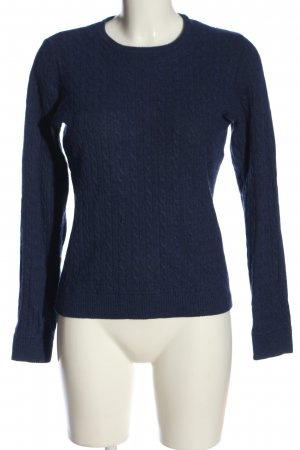 H&M Rundhalspullover blau Zopfmuster Casual-Look