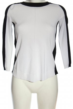 H&M Rundhalspullover weiß-schwarz Casual-Look