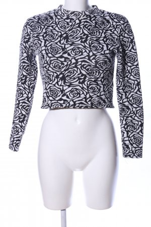 H&M Crewneck Sweater black-white flower pattern casual look