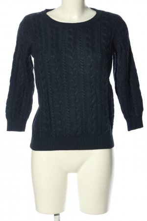 H&M Rundhalspullover blau Zopfmuster Casual-Look