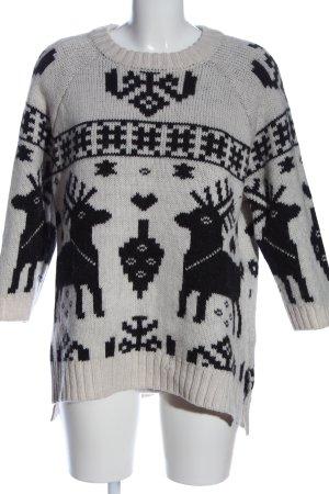 H&M Rundhalspullover weiß-schwarz grafisches Muster Casual-Look