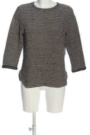 H&M Rundhalspullover schwarz-weiß Streifenmuster Casual-Look