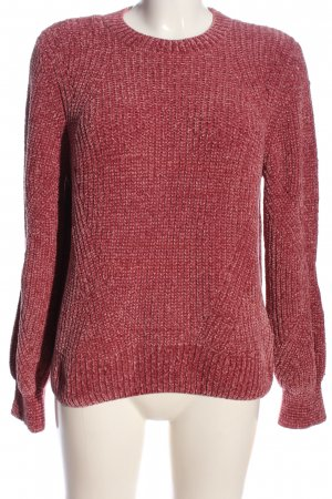 H&M Rundhalspullover rot Zopfmuster Casual-Look