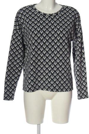 H&M Rundhalspullover schwarz-weiß grafisches Muster Casual-Look