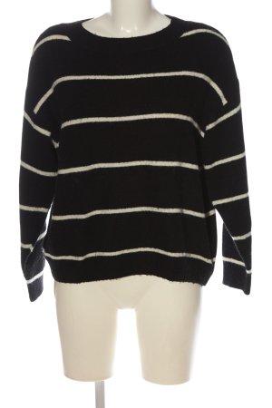 H&M Rundhalspullover schwarz-wollweiß Streifenmuster Casual-Look