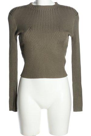 H&M Rundhalspullover khaki Streifenmuster Casual-Look keine Textilangabe