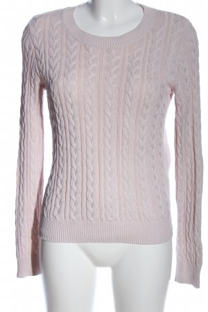 H&M Rundhalspullover lila Zopfmuster Casual-Look