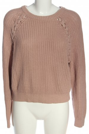 H&M Rundhalspullover nude Zopfmuster Casual-Look