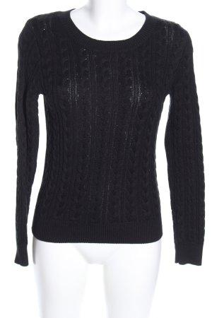 H&M Rundhalspullover schwarz Zopfmuster Casual-Look